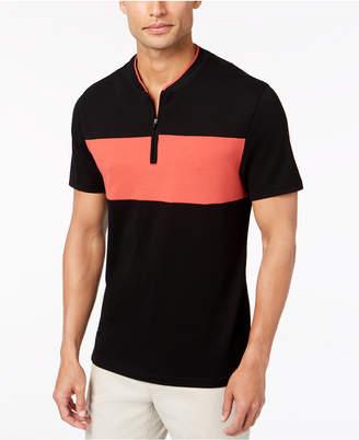 Alfani Men's Colorblocked Baseball-Neck Zip Polo, Created for Macy's