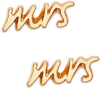 "Kate Spade Gold Tone ""Mrs"" Stud Earrings"
