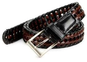 Black & Brown Black Brown Woven Leather Contrast Belt