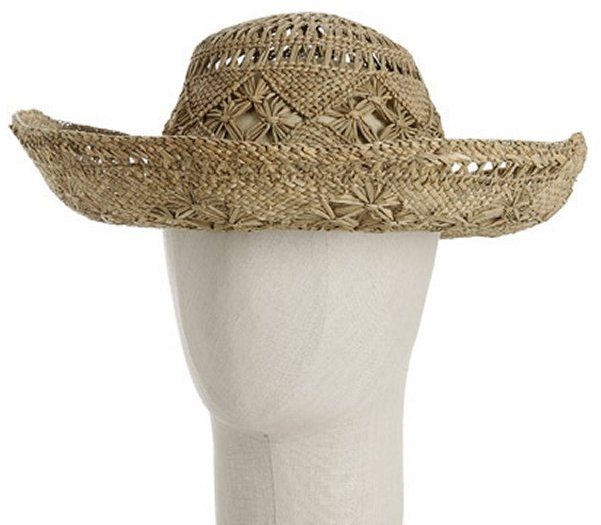 Patricia Underwood natural straw diamond cut-out hat