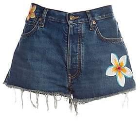 Alanui Women's Hawaiian Flowers Jean Shorts