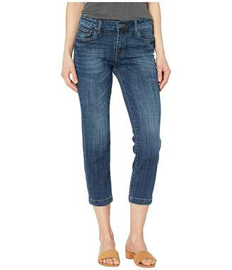 KUT from the Kloth Lauren Crop Straight Leg Jeans w/ Wide Hem in Collect w/ Dark Stone Base Wash