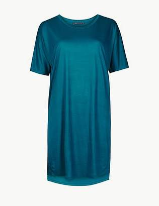 Marks and Spencer Round Neck Longline Short Sleeve Top