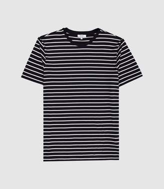 Reiss Holborn - Striped Crew Neck T-shirt in White/navy