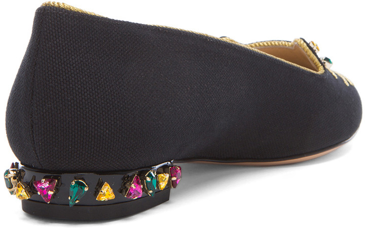 Charlotte Olympia Bejewelled Kitty Canvas Flats in Black
