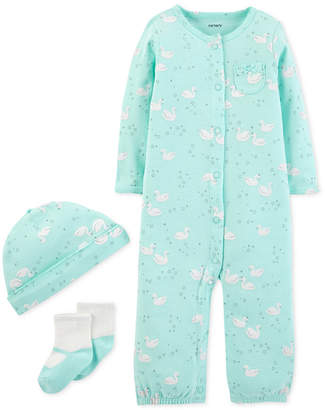 Carter's Baby Girls 3-Pc. Swan-Print Hat, Convertible Coverall & Socks Set