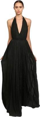 Saint Laurent Crystal Embellished Jersey Long Dress