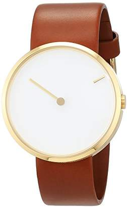 Jacob Jensen Curve 254 unisex quartz Watch with white Dial analogue Display and brown leather Strap 254