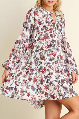 Umgee USA Ivory-Floral Trapeze Dres