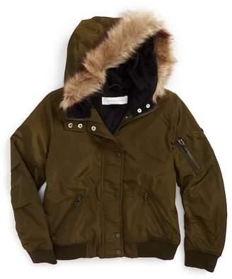 Treasure & Bond Hooded Faux Fur Trim Bomber Jacket (Big Girls)