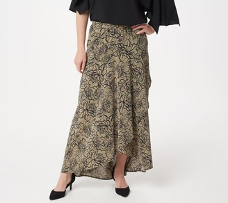 d2d664e7da Du Jour Pull-On Printed Asymmetric Hem Woven Maxi Skirt