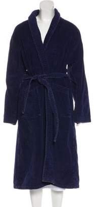 Derek Rose Fleece Tie-Accented Robe