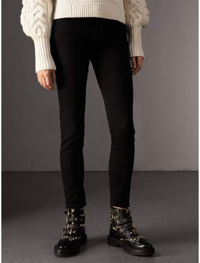 2e6a21f39de98 Burberry Skinny Fit Low-Rise Deep Black Jeans detail image