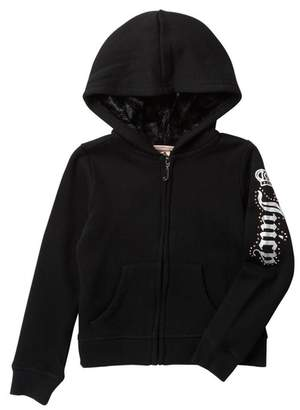 Juicy Couture Black Faux Fur Lined Fleece Zip Up Hoodie (Little Girls)