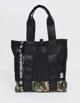 A Bathing Ape Aape By AAPE By Tote Bag With Camo Panel In Black