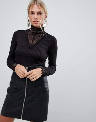 Y.A.S long sleeve ribbed jersey top with high neck lace detail