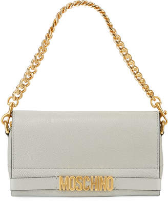 Moschino Glossy Chain Leather Crossbody Bag, Gray