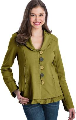Neon Buddha Women's Soft Cotton Jacket Female Long Sleeve Blazer with Pockets, Ruffled Hems, Notched Collar and Contrasting Buttons