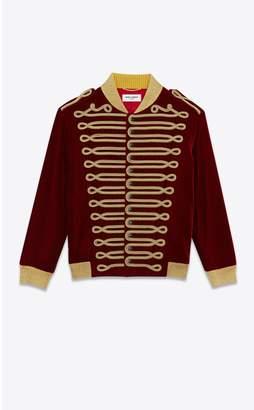 Saint Laurent Velvet Officer Jacket Embroidered With Passementerie