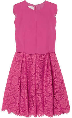 Valentino Scalloped Crepe And Corded Lace Mini Dress - Bright pink