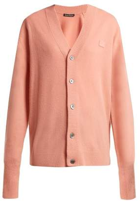 Acne Studios Neve Face Wool Cardigan - Womens - Light Pink