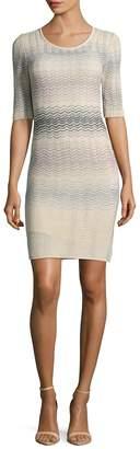 M Missoni Women's Zig-Zag Striped 3/4 Sleeve Dress