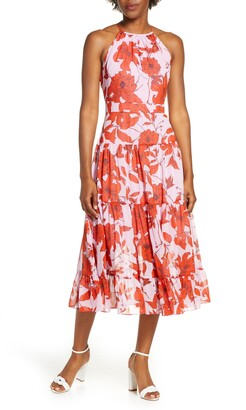 Eliza J Floral High Neck Tiered Chiffon Midi Dress