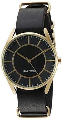 Nine West Women's NW/1942BKBK Gold-Tone Slip Through Black Strap Watch