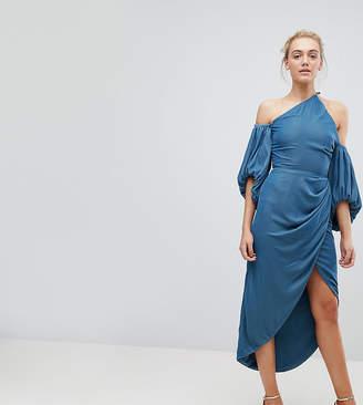 Asos Tall TALL One Shoulder Velvet Drape Midi Dress
