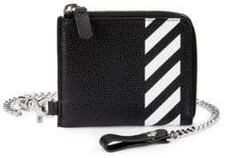 Off-White Digaonal Stripe Chain Leather Card Holder