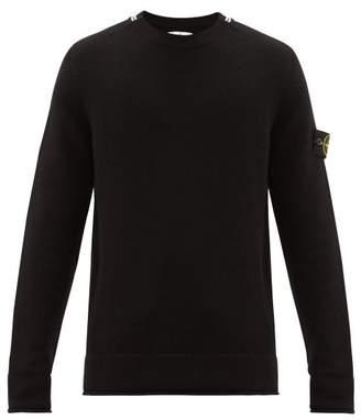 Stone Island Striped Wool Blend Sweater - Mens - Black