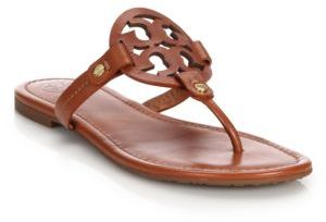 Tory Burch Miller Leather Logo Thong Sandals $195 thestylecure.com