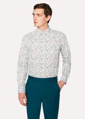 Paul Smith Men's Tailored-Fit White 'Balloon Floral' Print Cotton 'Artist Stripe' Cuff Shirt