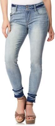 Juniors' Wallflower Faded Release Hem Ultra Skinny Jeans