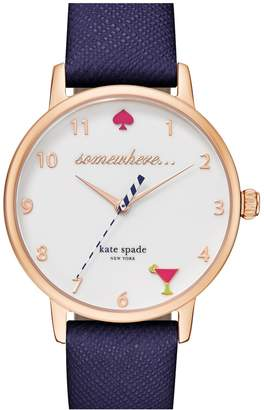 Kate Spade 'metro - Somewhere' Leather Strap Watch, 34mm