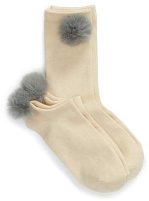 Lemon 2-Pack Nobel Faux Fur Pompom Socks
