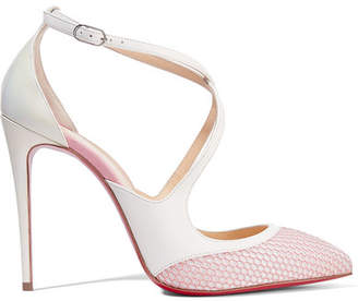Christian Louboutin Crissos 110 Suede-trimmed Fishnet And Patent-leather Pumps - White