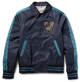 Valentino Leather-Appliquéd Shell Varsity Jacket