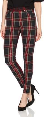 French Connection Women's Tillie Tartan Denim Jeans, RED Mix