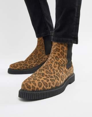 Asos DESIGN creeper chelsea boots In leopard print suede