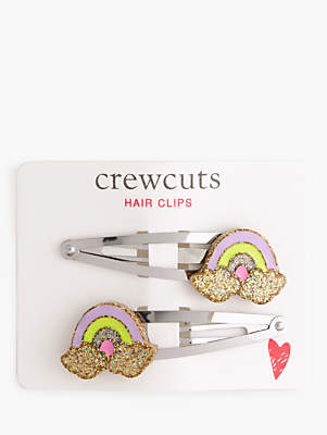 J.Crew crewcuts by Children's Glitter Rainbow Hair Clips, Pack of 2, Multi