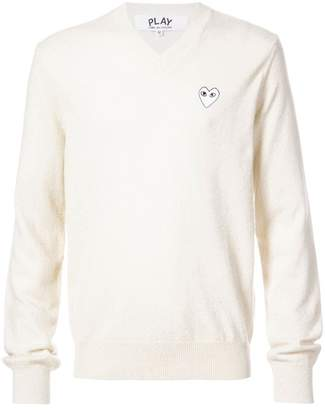 Comme des Garcons crew neck pullover with white heart