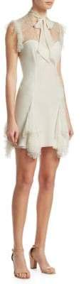 Cinq à Sept Silk Tie Neck Ruffle Dress