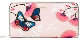 Furla butterfly applique logo printed floral wallet