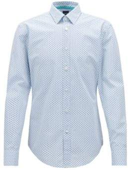 BOSS Hugo Slim-fit shirt in printed micro-check cotton poplin M Open Blue