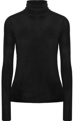 Theory - Ribbed Modal-blend Turtleneck Sweater - Black $95 thestylecure.com