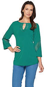 Susan Graver Liquid Knit 3/4 Sleeve Top w/LaserCut Details