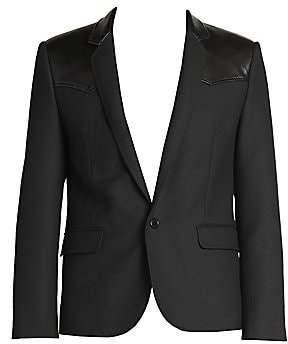 Saint Laurent Men's Short Mixed Media Wool & Silk Sport Jacket