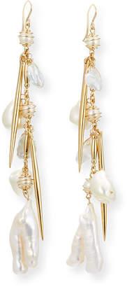 Devon Leigh Pearl Cluster Dangle Drop Earrings