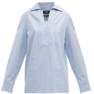 A.P.C. Roma Striped Oversized Cotton Shirt - Womens - Blue White